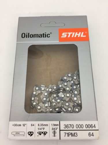 "Genuine Stihl MS 150, 160, 200 Chain  1/4 1.1 /  64 Link  12"" BAR  Product Code 3670 000 0064"